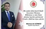 Kapaklı Kaymakamı Mehmet Ali Gürbüz'ün Kadir Gecesi Mesajı